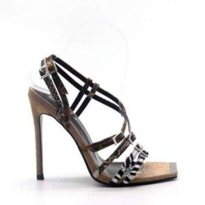 Animal Print Strappy Square Toe Heels in Nude
